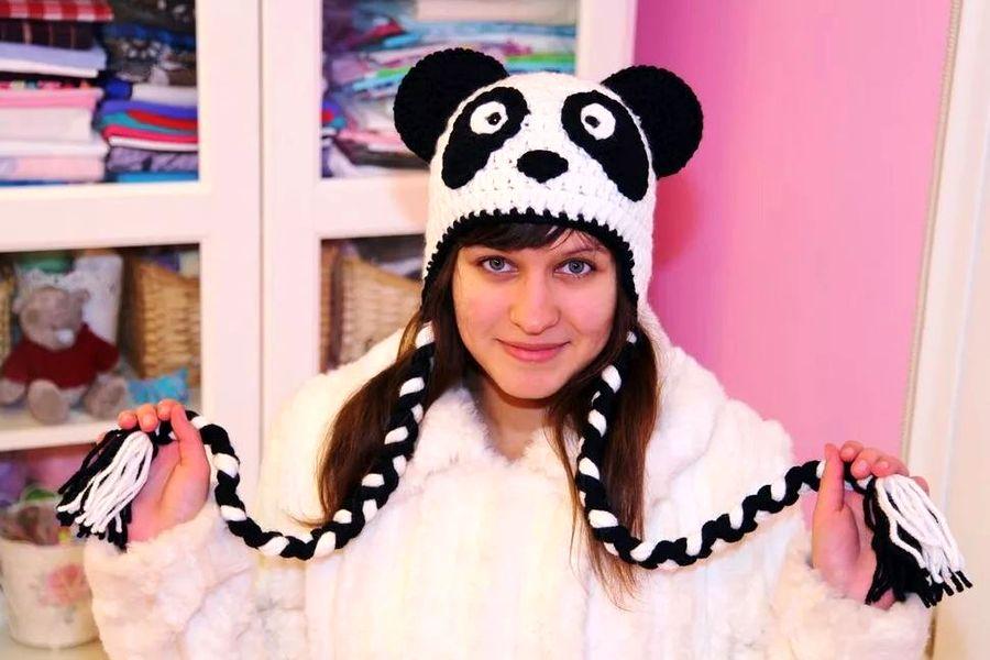 Как вязать шапку панду