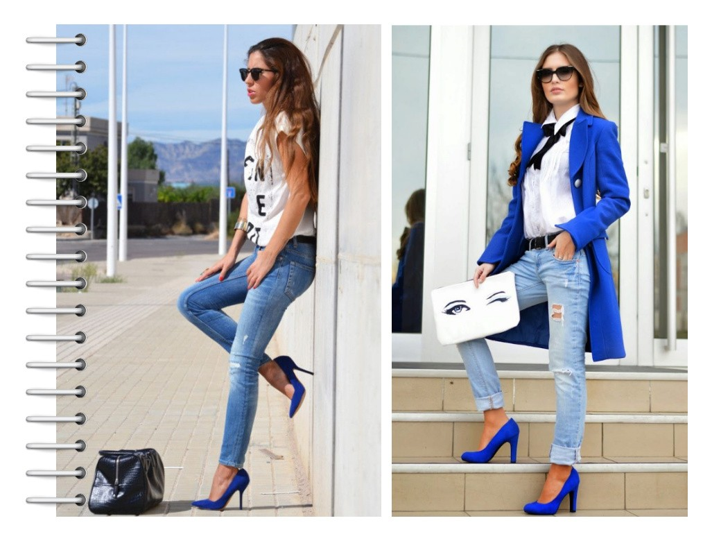 Синие туфли с джинсами