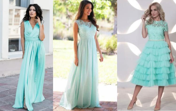Платье мятного цвета вечернее