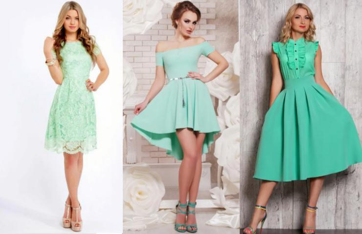 Платье мятного цвета короткое