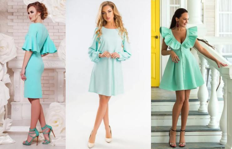 Платье мятного цвета красивые